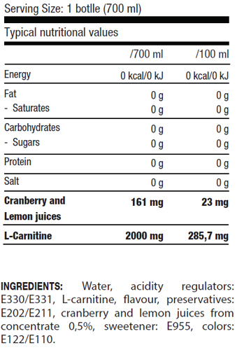 L-Carnitine Drink 2000 mg, 700 m, QNT